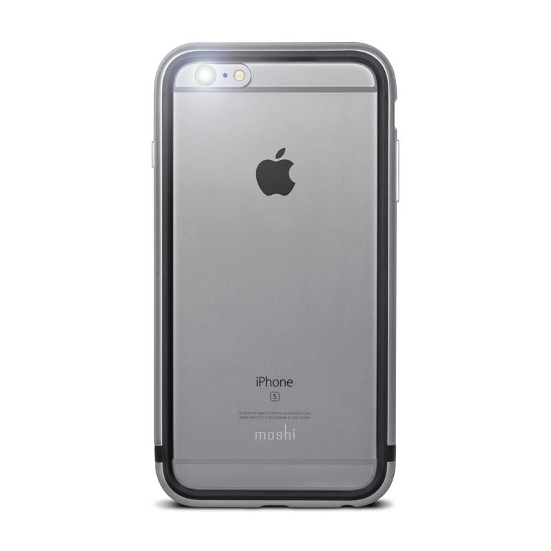 Moshi iGlaze Luxe - Etui z aluminiową ramką iPhone 6s Plus / iPhone 6 Plus (Titanium Grey)
