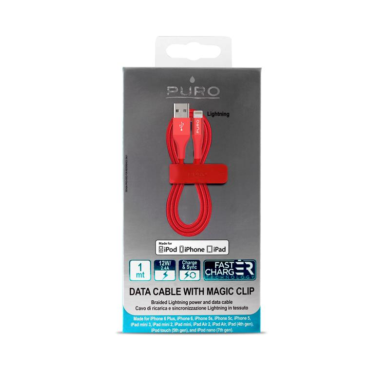 PURO Braided Cable - Kabel MFi z Lightning + klips + Aluminum Connector 1m (Red)