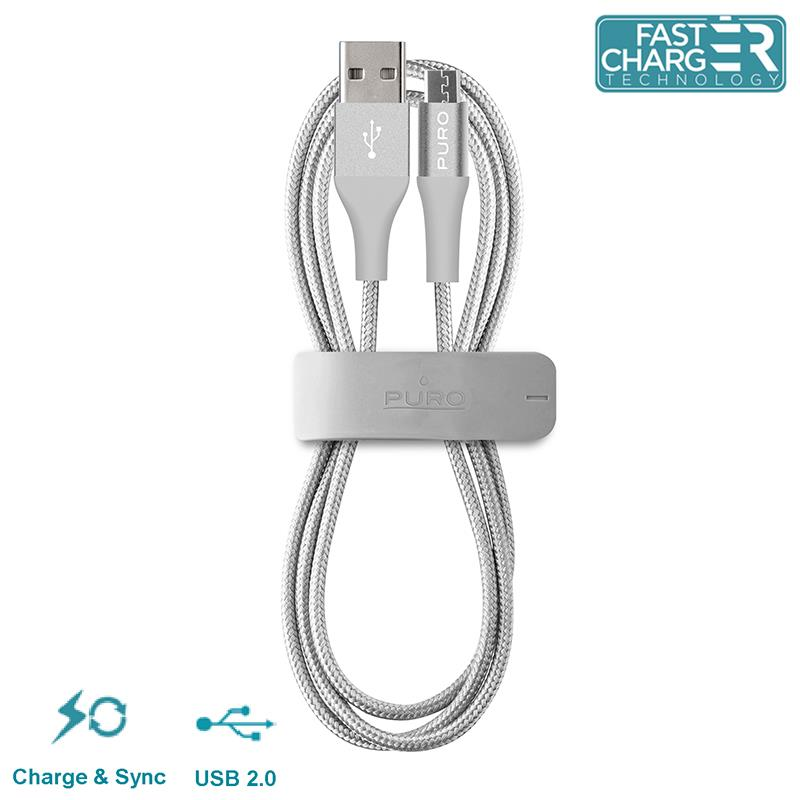 PURO Braided Cable - Kabel Micro USB + klips + Aluminum Connector 1m (Silver)