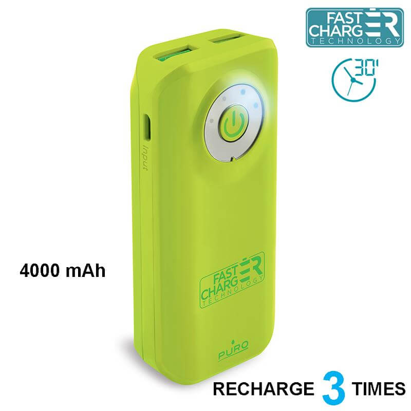 PURO Universal External Fast Charger Battery - Uniwersalny Power Bank 4000 mAh, 2 x USB, 2.4 A (limonkowy)