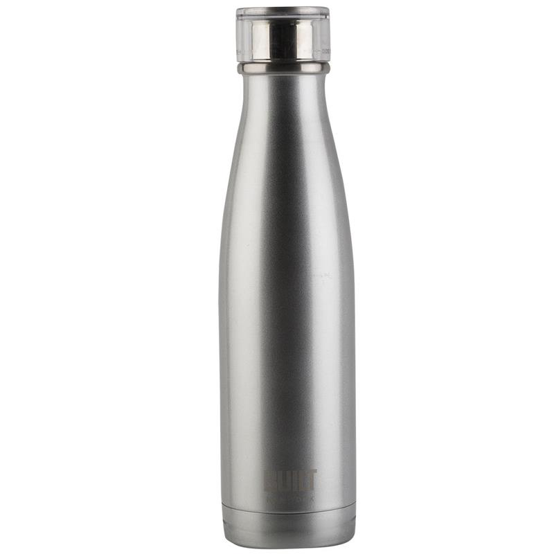 BUILT Perfect Seal Vacuum Insulated Bottle - Stalowa butelka termiczna 0,5 l (Silver)