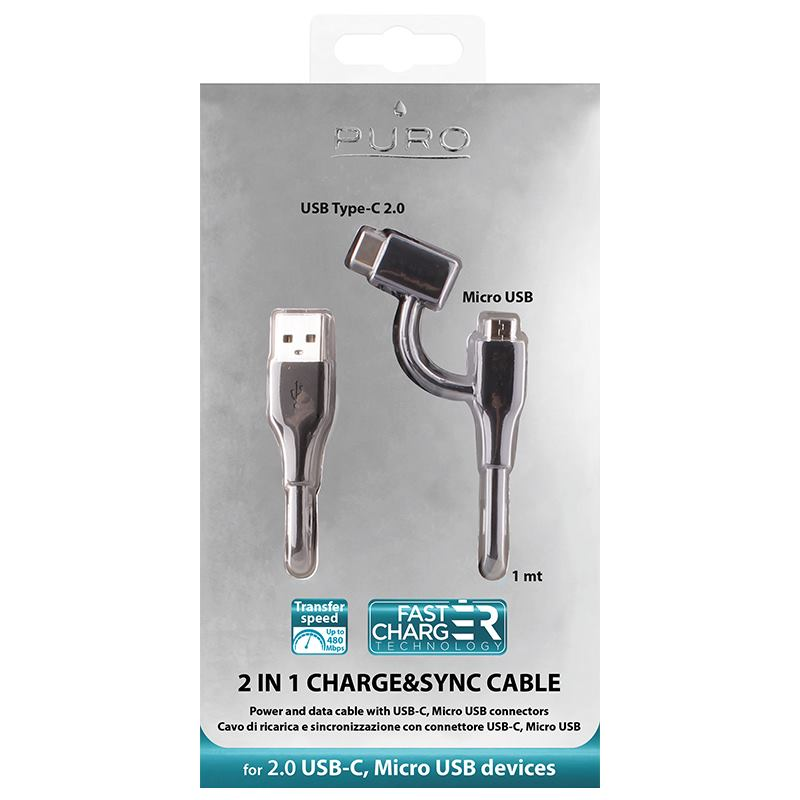 PURO Plain Cable 2 in 1 - Kabel USB z dwoma wtykami Micro USB & USB-C, 2 A, 480 Mbps, 1 m (czarny)