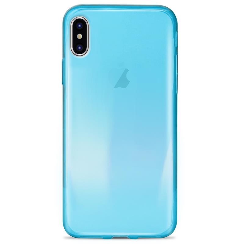 PURO 0.3 Nude - Etui iPhone Xs / X (Fluo Blue)