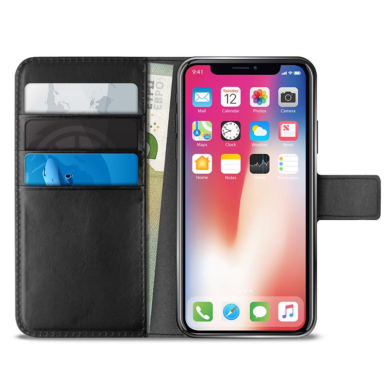 PURO Booklet Wallet Case - Etui iPhone Xs / X z kieszeniami na karty + stand up (czarny)
