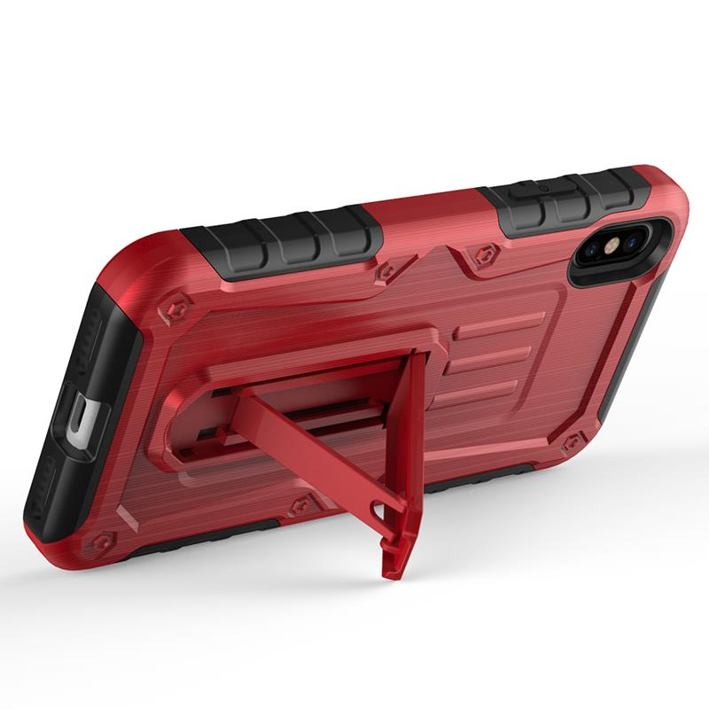 Zizo Heavy Duty Armor Case - Pancerne etui iPhone X z podstawką + uchwyt do paska (Red/Black)