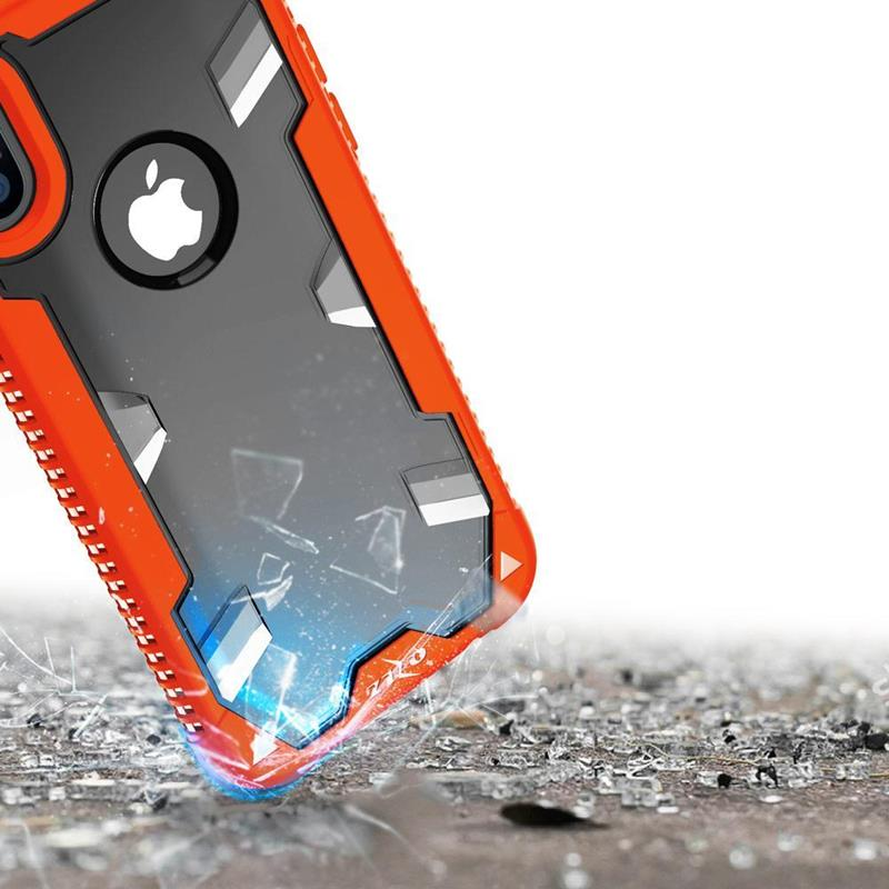 Zizo Proton Case - Pancerne etui iPhone X ze szkłem 9H na ekran (Orange/Trans Clear)