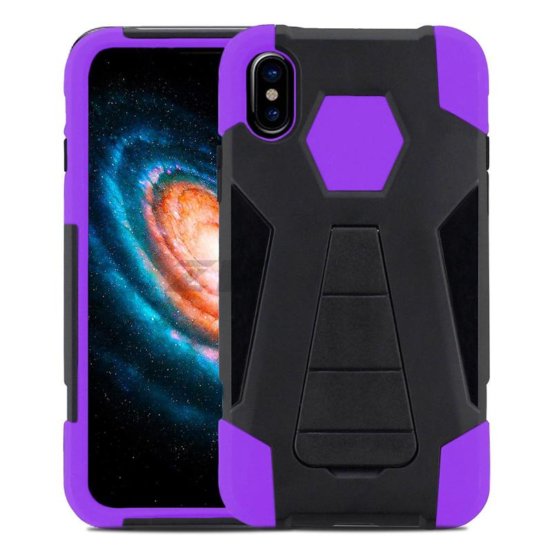 Zizo Dual Layered Hybrid Cover - Pancerne etui iPhone X z podstawką (Purple)