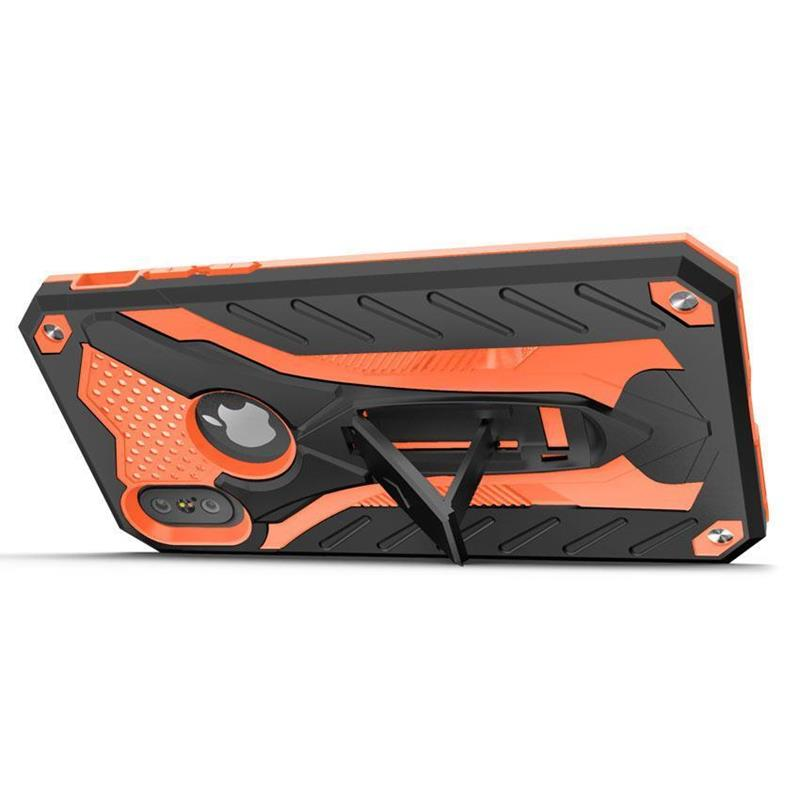 Zizo Static Cover - Pancerne etui iPhone Xs / X z podstawką (Black/Orange)