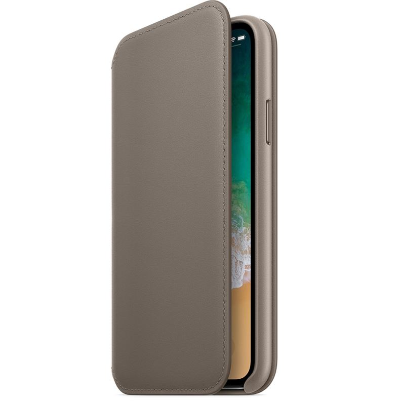 Apple Leather Folio - Skórzane etui iPhone X z kieszeniami na karty (jasnobeżowy)