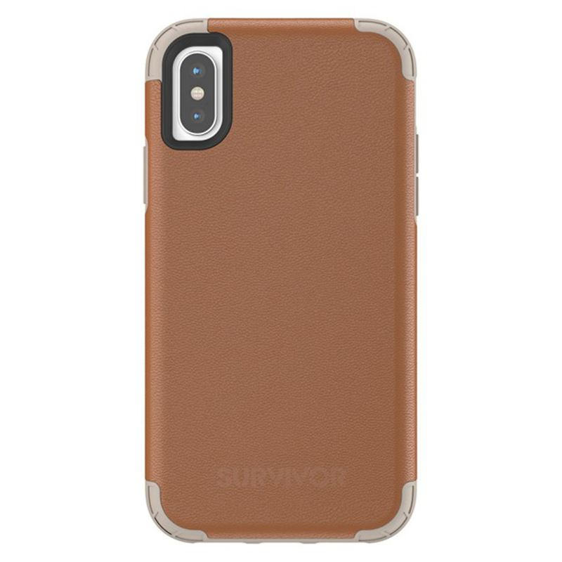 Griffin Survivor Prime Leather - Pancerne etui iPhone X (brązowy)