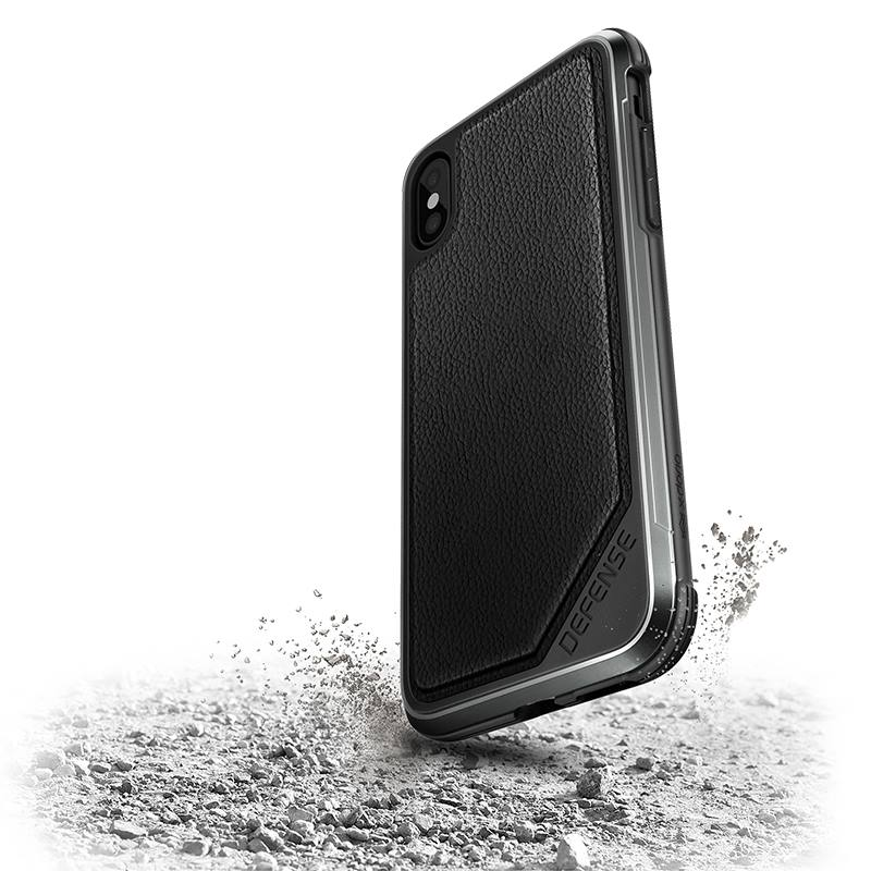 X-Doria Defense Lux - Etui aluminiowe iPhone X (Black Leather)
