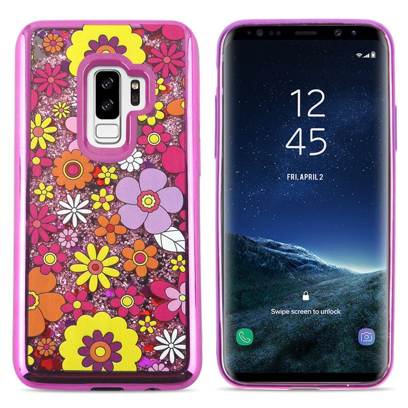 Zizo Liquid Glitter Star Case - Etui Samsung Galaxy S9+ (Multiflowers)