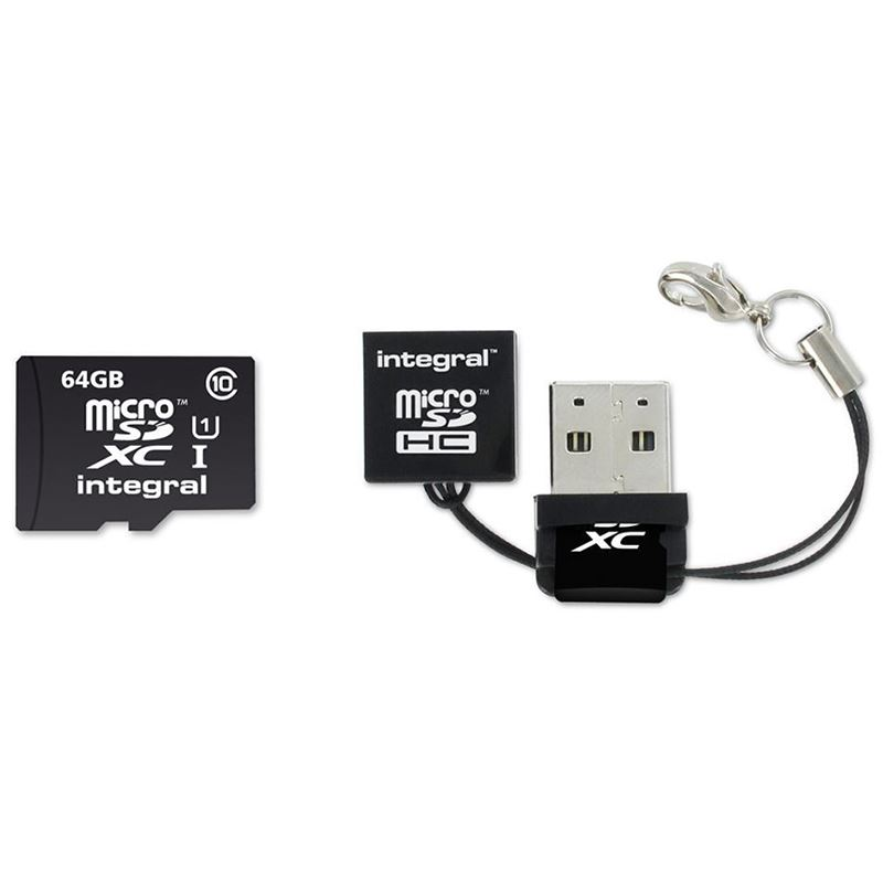 Integral UltimaPro - Karta pamięci 64GB microSDHC/XC 40MB/s Class 10 UHS-I U1 + USB Card Reader