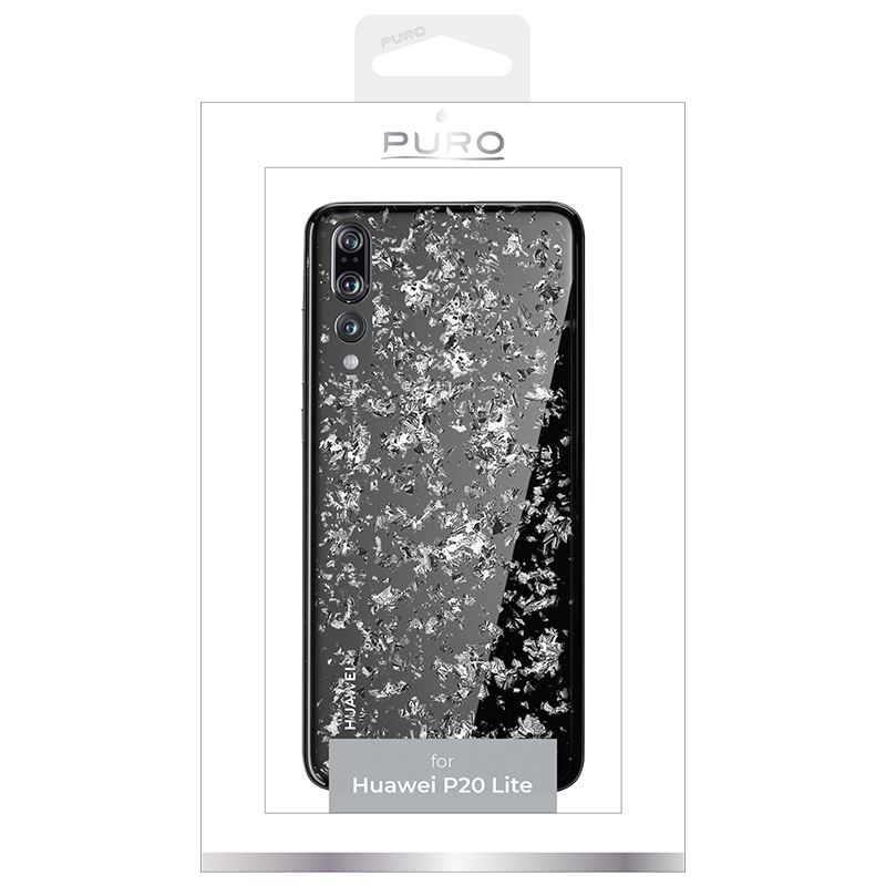 PURO Glam Ice Light Cover - Etui Huawei P20 Pro z metalicznymi elementami srebra