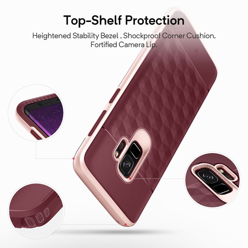 Caseology Parallax Case - Etui Samsung Galaxy S9 (Burgundy/Rose Gold)