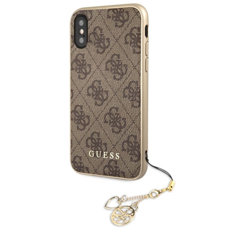 Guess 4G Charms Collection - Etui iPhone Xs / X z zawieszką (brązowy)