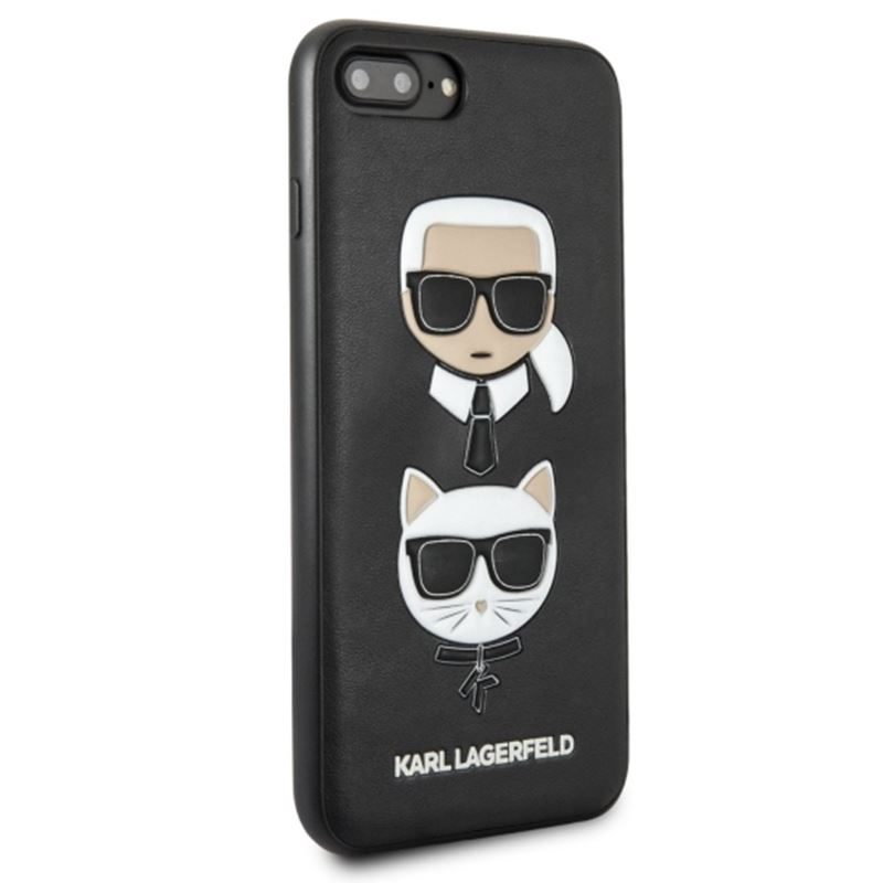 Karl Lagerfeld Embossed Case Karl & Choupette - Etui iPhone 8 Plus / 7 Plus (czarny)