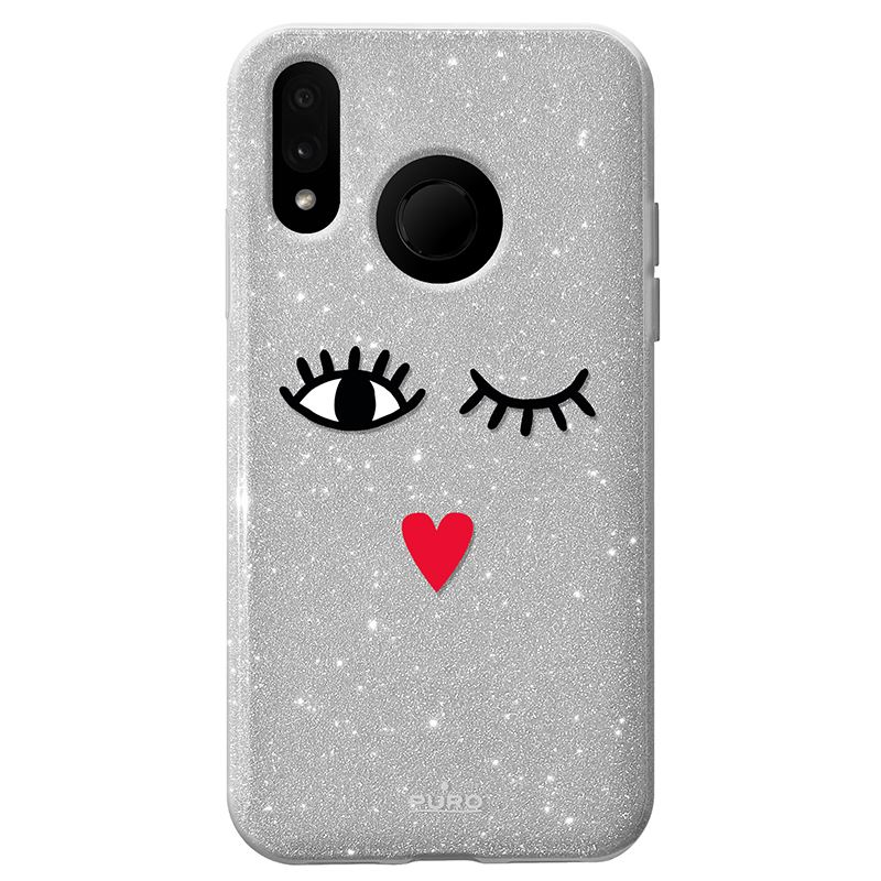 "PURO Glitter EYES Shine Cover - Etui Huawei P20 Lite (2018) 5.8"" (Silver) Limited edition"