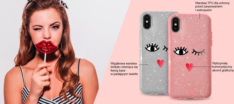PURO Glitter EYES Shine Cover - Etui Huawei P20 Pro (Rose Gold) Limited edition