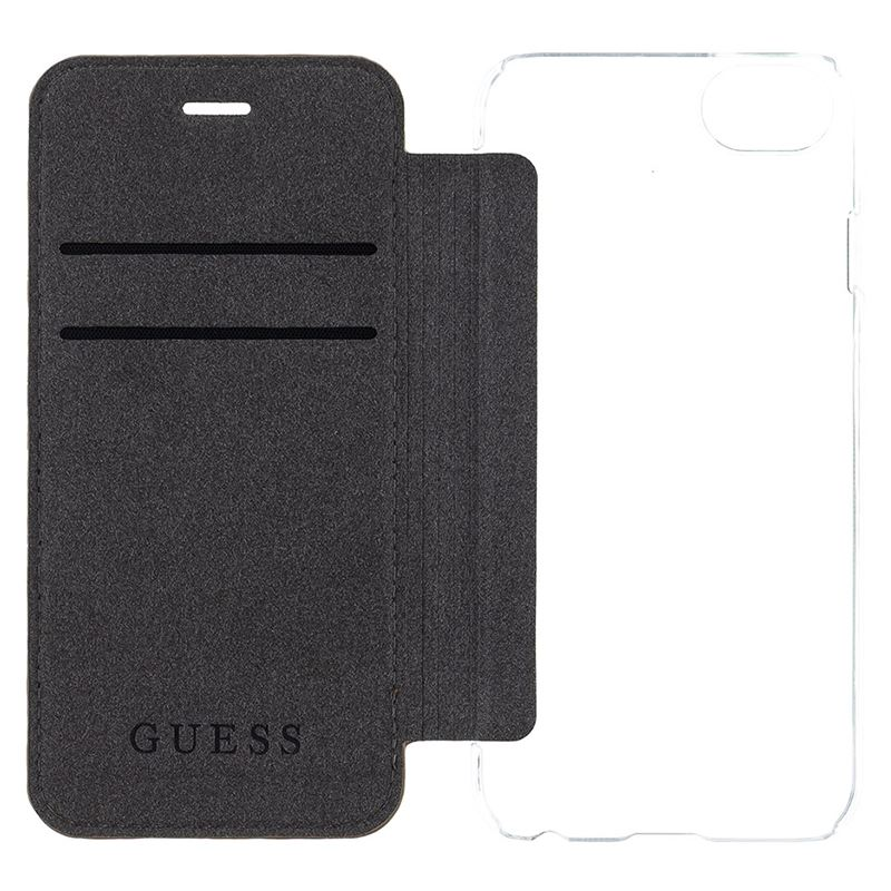 Guess Book 4G Charms Collection - Etui iPhone 8 / 7 z kieszeniami na karty (brązowy)