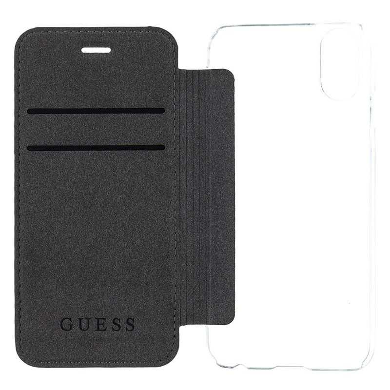 Guess Book 4G Charms Collection - Etui iPhone X z kieszeniami na karty (szary)