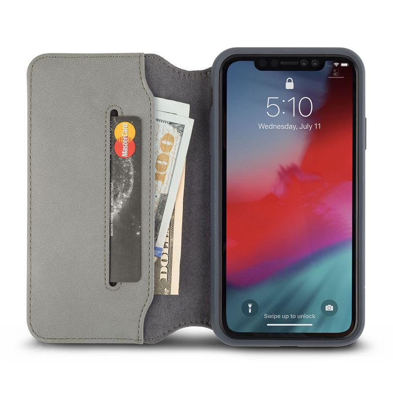 Moshi Overture - Etui iPhone XR z kieszenią na karty + stand up (Herringbone Gray)