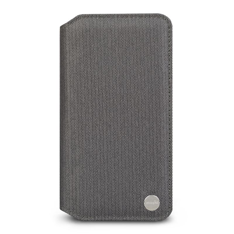 Moshi Overture - Etui iPhone Xs Max z kieszenią na karty + stand up (Herringbone Gray)