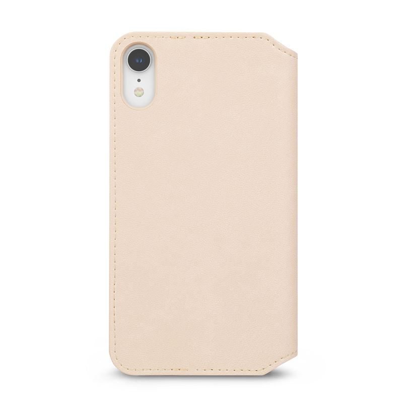 Moshi Overture - Etui iPhone XR z kieszenią na karty + stand up (Savanna Beige)