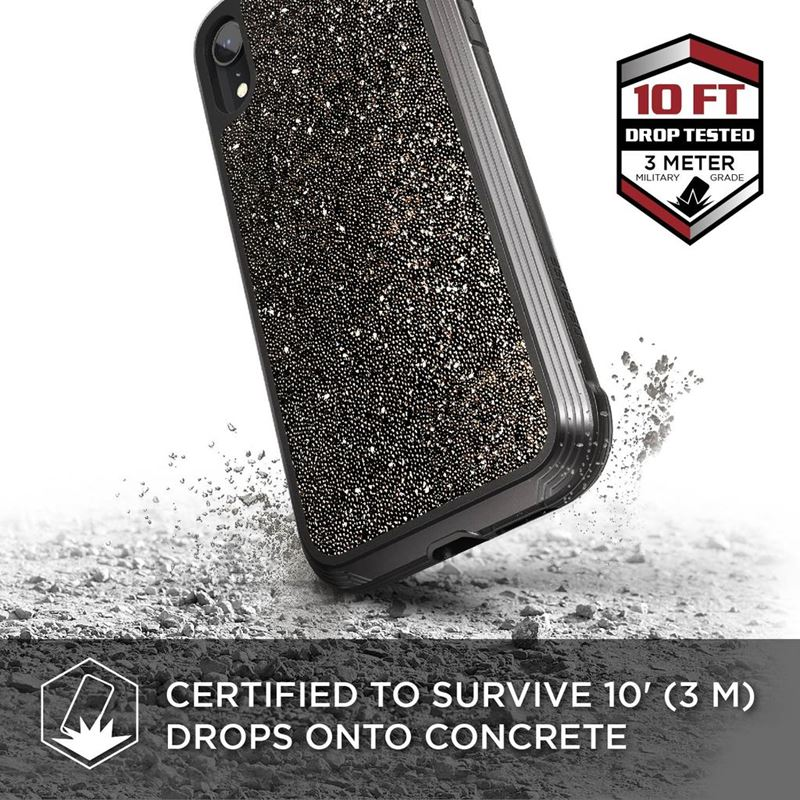 X-Doria Defense Lux - Etui aluminiowe iPhone XR (Drop test 3m) (Dark Glitter)