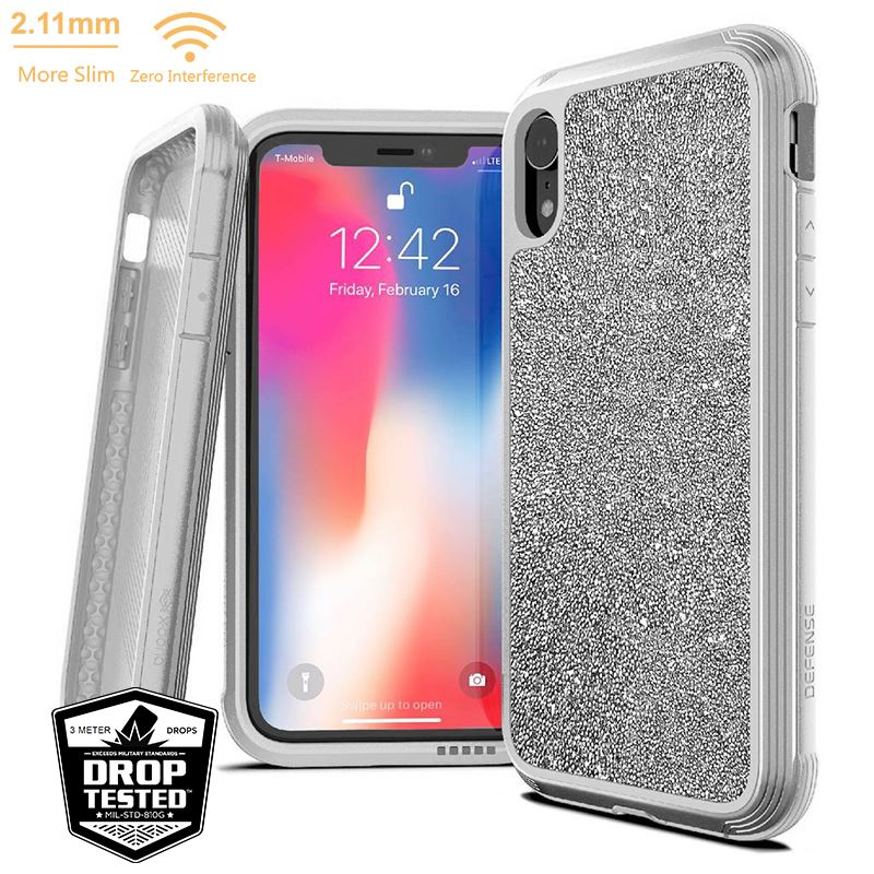 X-Doria Defense Lux - Etui aluminiowe iPhone XR (Drop test 3m) (White Glitter)