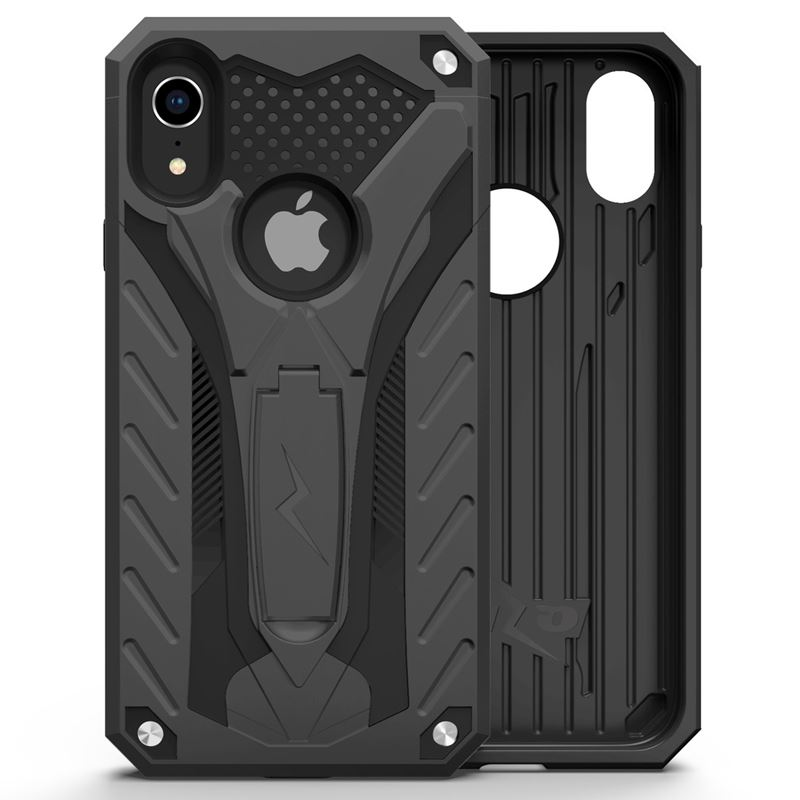 Zizo Static Cover - Pancerne etui iPhone XR z podstawką (Black/Black)