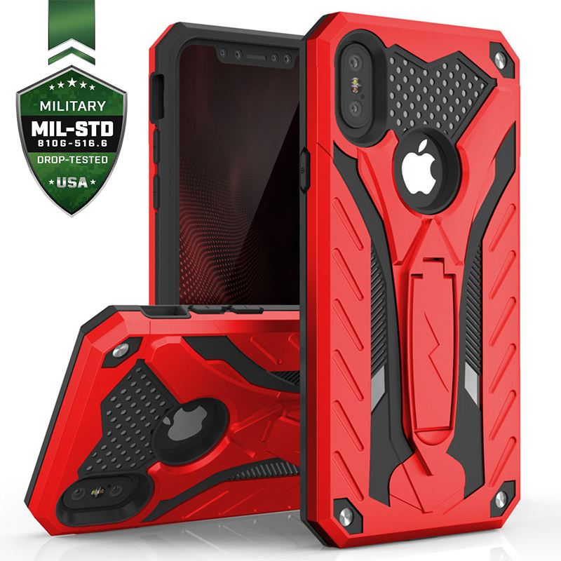 Zizo Static Cover - Pancerne etui iPhone Xs Max z podstawką (Red/Black)