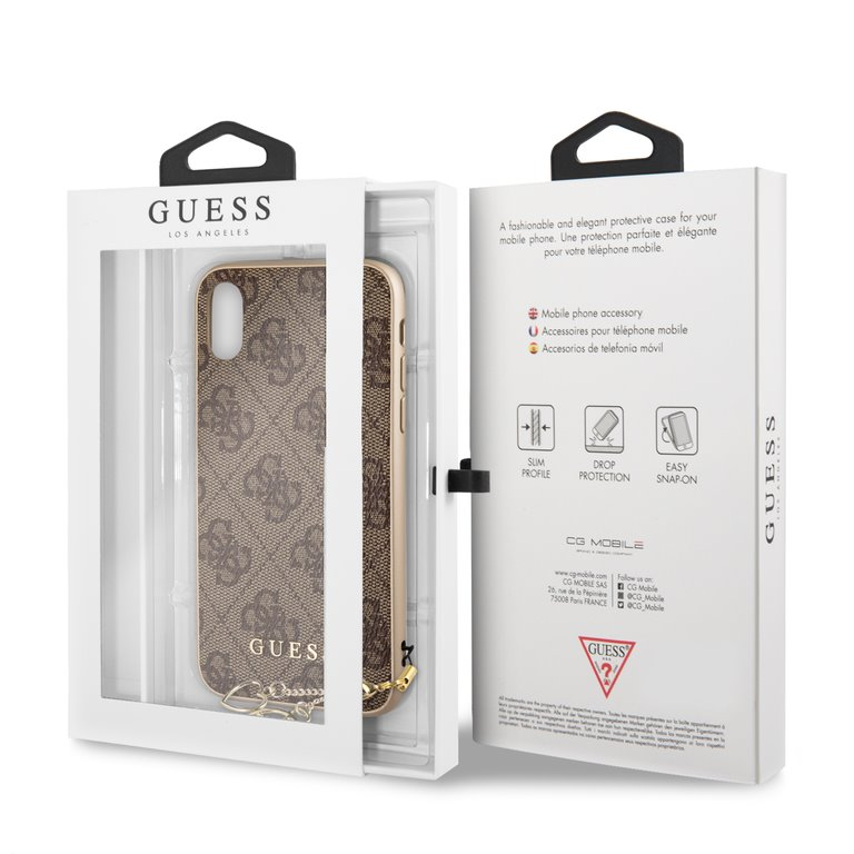Guess 4G Charms Collection - Etui iPhone XR z zawieszką (brązowy)