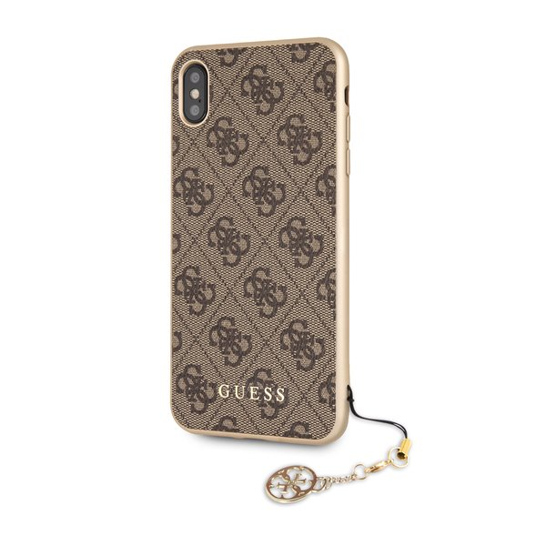 Guess 4G Charms Collection - Etui iPhone Xs Max z zawieszką (brązowy)