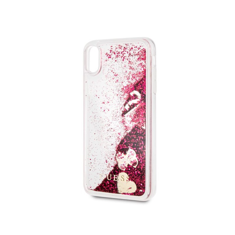 Guess Liquid Glitter Hearts - Etui iPhone Xs Max (malinowy)