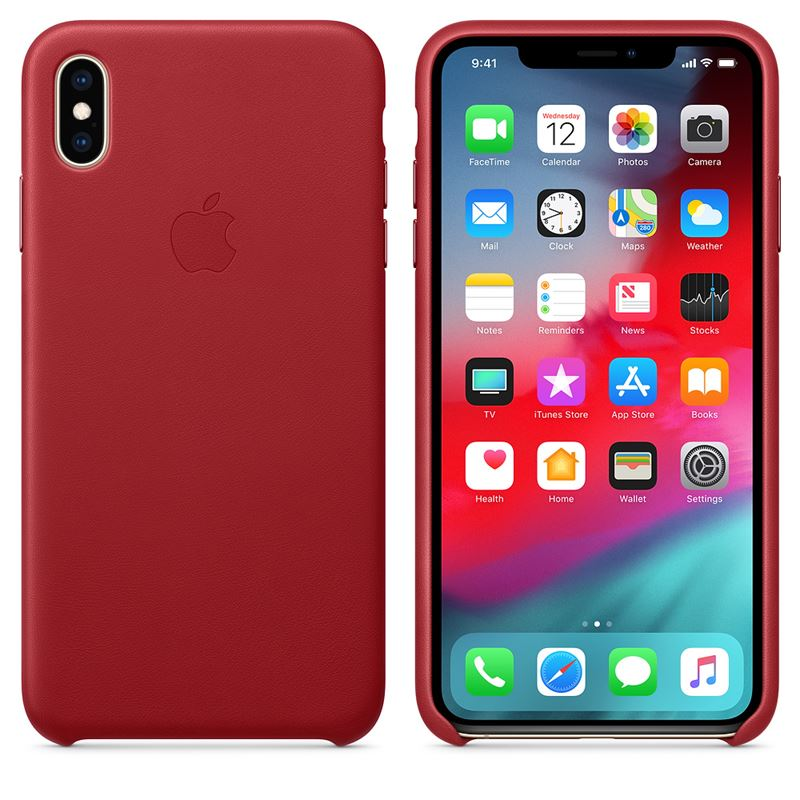 Apple Leather Case - Skórzane etui iPhone Xs Max (czerwony) (PRODUCT)RED