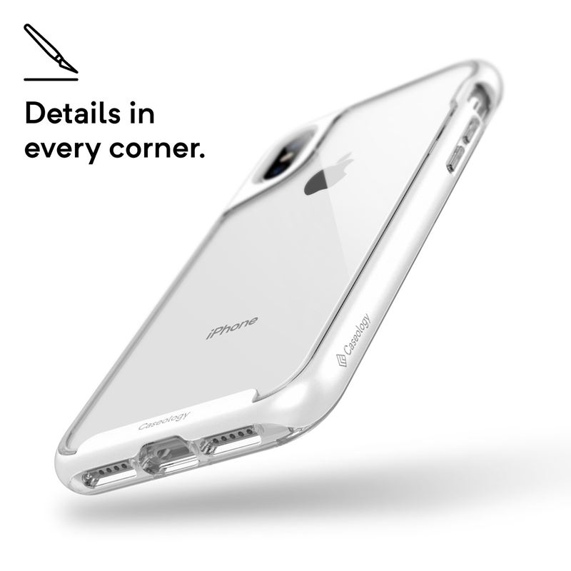 Caseology Skyfall Case - Etui iPhone Xs / X (Silver)