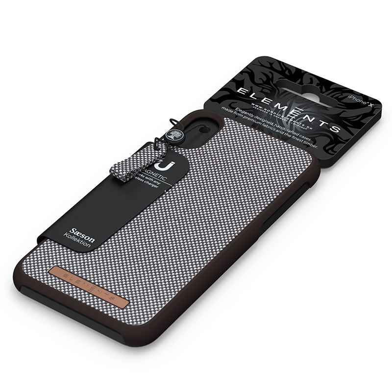 Nordic Elements Saeson Idun - Materiałowe etui iPhone SE 2020 / 8 / 7 (Dark Brown Pattern 1)