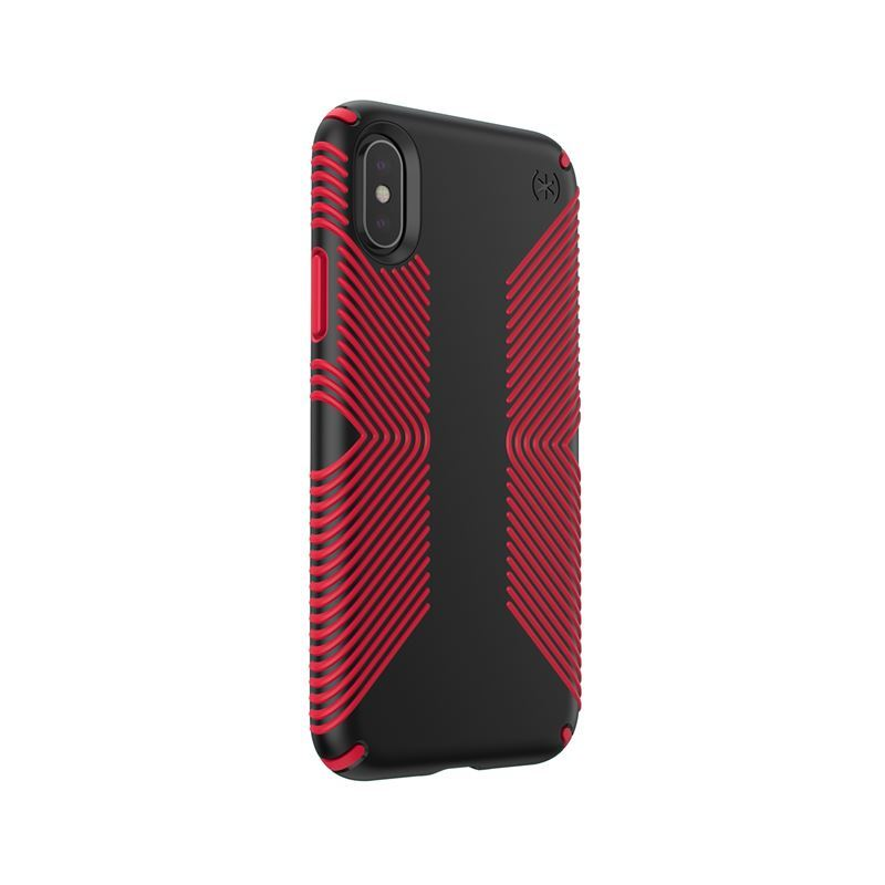 Speck Presidio Grip - Etui iPhone Xs / X (Black/Dark Poppy Red)