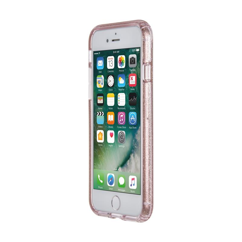 Speck Presidio Clear with Glitter - Etui iPhone 8 / 7 / 6s / 6 (Gold Glitter/Bella Pink)