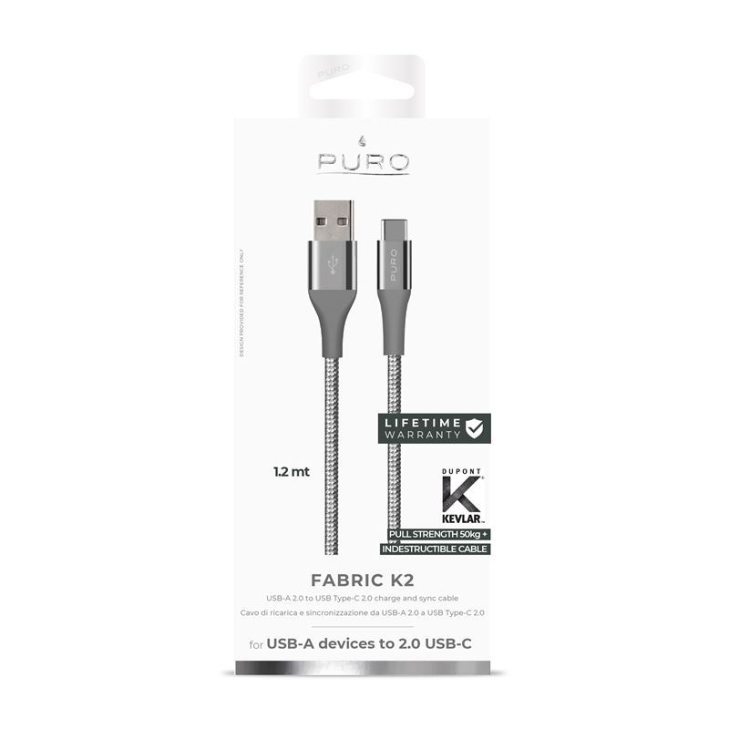 PURO Fabric K2 - Kabel w oplocie heavy duty USB-A na USB-C, 1,2 m (Space Grey)