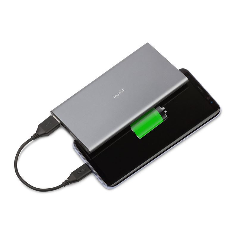 Moshi IonSlim Portable Battery - Aluminiowy power bank USB-C 5K (Titanium Gray)