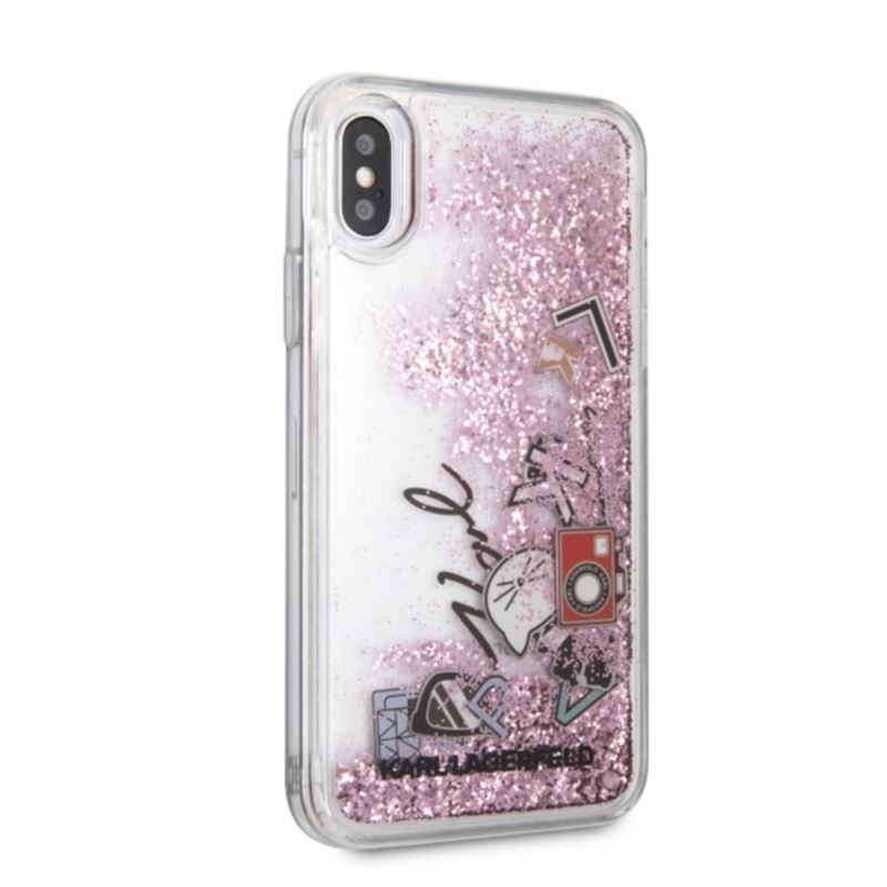 Karl Lagerfeld Liquid Glitter Case - Etui iPhone Xs / X ( Rose Gold Glitter)
