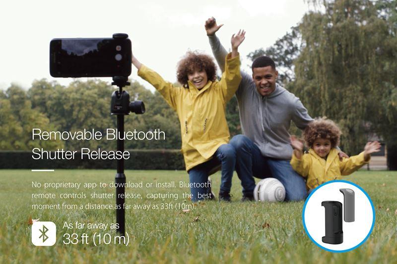 Just Mobile ShutterGrip - Uchwyt foto ze spustem migawki Bluetooth dla iOS/Android (Black)