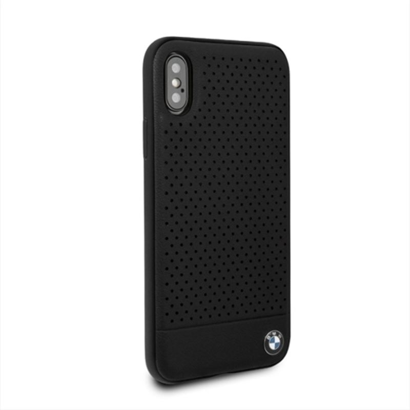 BMW Perforated Horizontal Smooth Leather - Etui iPhone Xs Max (czarny)
