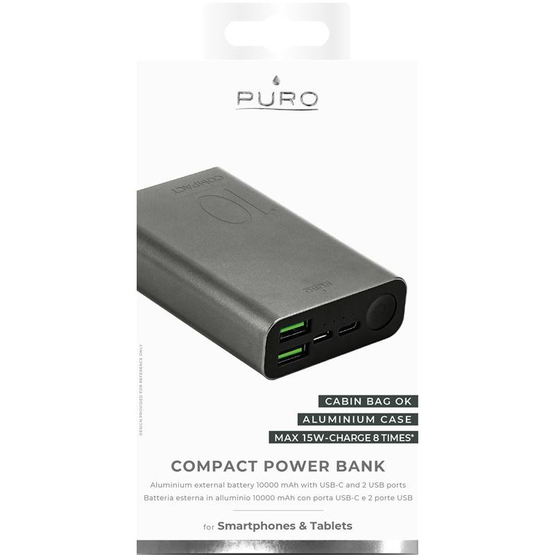 PURO Compact Power Bank - Power bank dla smartfonów i tabletów 10000 mAh 2 x USB-A, 1 x USB-C, 15 W Li-Poly (space grey)