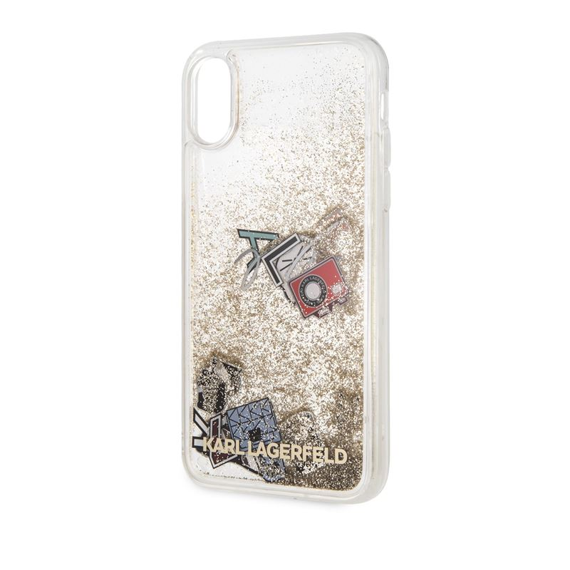 Karl Lagerfeld Liquid Glitter Case - Etui iPhone Xs / X  (Gold Glitter)