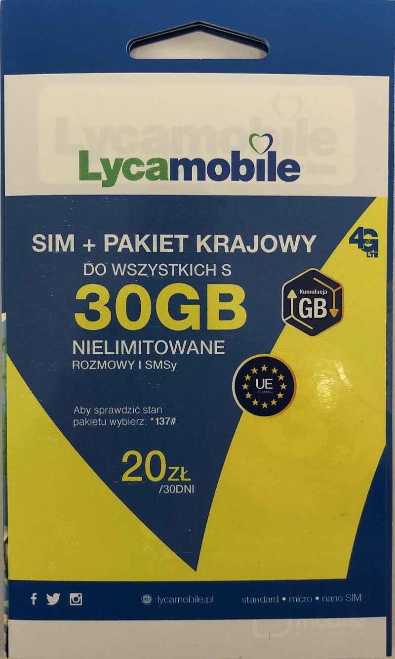 Lycamobile - karta SIM 20 zł na koncie do wszystkich free