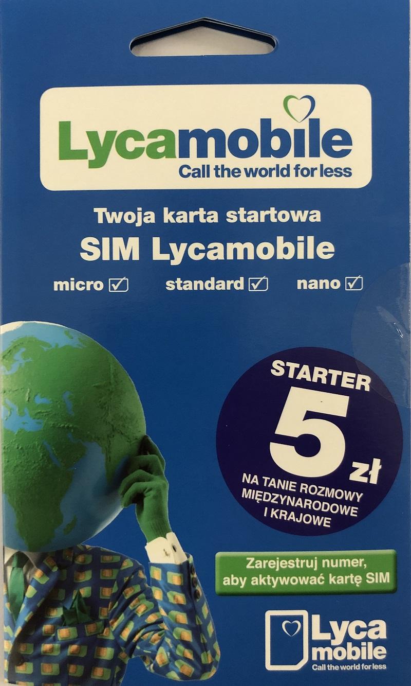 Lycamobile - karta SIM 5 zł na koncie do wykorzystania