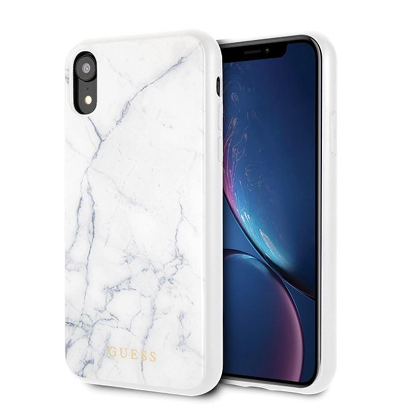 Guess Marble - Etui iPhone XR (biały)